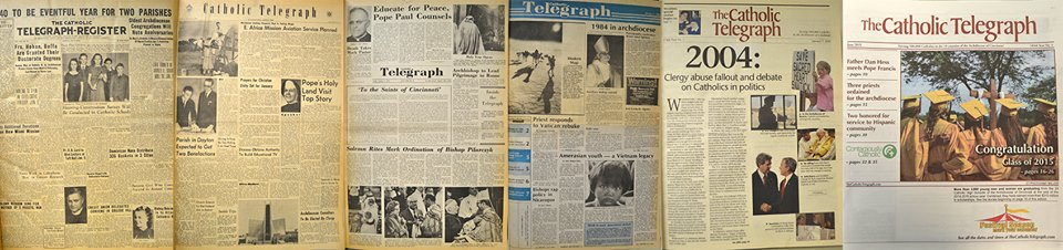 A look at the evolution of The Catholic Telegraph's front page over the years. (CT File)