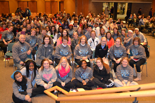 Students and staff from Roger Bacon, and others, posed for a photo prior to the March for Life prayer service at Good Shepherd parish in Montgomery.