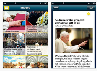 """Screen capture of """"The Pope App,"""" launched by Vatican Jan. 23"""