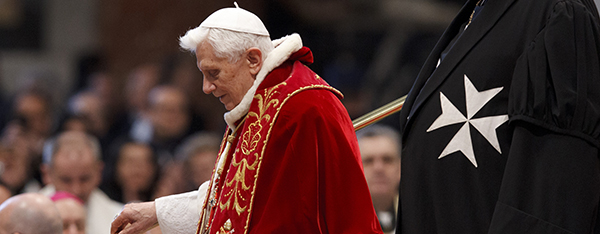 Pope Benedict XVI delivers a talk at the conclusion of a Mass for the Knights of Malta. The Vatican says the pope is considering changes to conclave rules as his papacy nears an end. (CNS photo/Paul Haring)