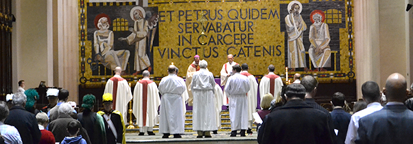 Archbishop Schnurr celebrates a mass for Pope Benedict XVI