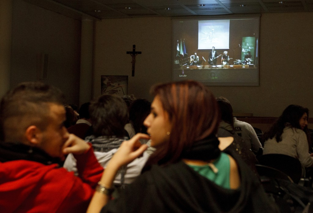 Young people watch rock concert sponsored by Pontifical Council for Culture