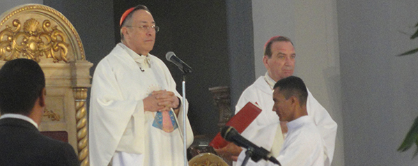 Cardinal Oscar Rodriguez Maradiaga, left, celebrates mass on the feast of Our Lady of Suyapa Feb. 3 at the Basilica of Our Lady of Suyapa in Honduras. Archbishop of Cincinnati Dennis M. Schnurr, right, concelebrated.