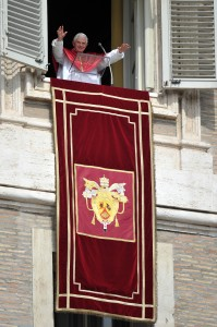 UNUSUAL TAPESTRY HANGS DURING POPE'S ANGELUS OCT. 10