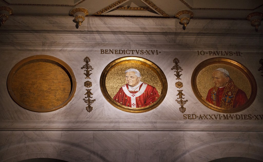 Medallion of next pope to be placed in slot next to Pope Benedict XVI