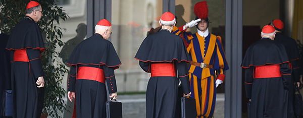 U.S. cardinals arrive for meeting at synod hall at Vatican