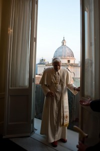 Pope Benedict XVI leaves after appearing for last time at balcony of his summer residence in Castelgandolfo