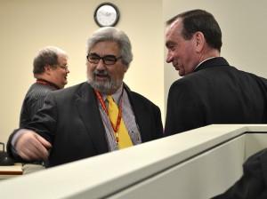 Steve Trosley talks with Archbishop Schnurr