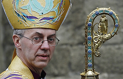 Anglican Archbishop Justin Welby of Canterbury leaves after his enthronement ceremony at Canterbury Cathedral