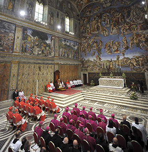 """Michelangelo's depiction of the """"Last Judgment"""" adorns the wall behind the altar of the Vatican's Sistine Chapel during a vespers service in late October. In an effort to protect Michelangelo's famed frescoes in the chapel, the Vatican Museums will be installing a new ventilation system to suck out the dust, dirt and humidity. (CNS photo/L'Osservatore Romano) (Dec. 27, 2012) See SISTINE-DUST Dec. 27, 2012."""