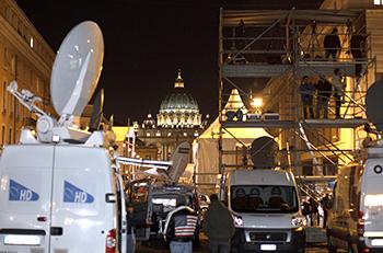 Satellite trucks and television riser seen near Vatican