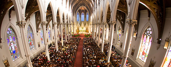 WORSHIPPERS FILL BOSTON CATHEDRAL DUING BICENTENNIAL MASS