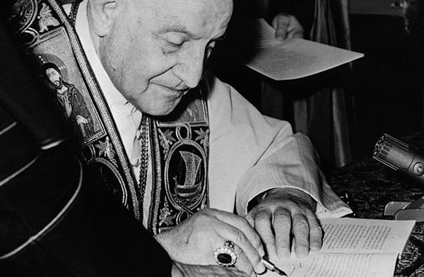 Pope John XXIII signs encyclical 'Pacem in Terris' in 1963