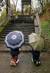 Women pray under umbrellas at shrine dedicated to Our Lady of Sheshan in China