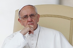 Pope looks on as he leads general audience in St. Peter's Square at Vatican