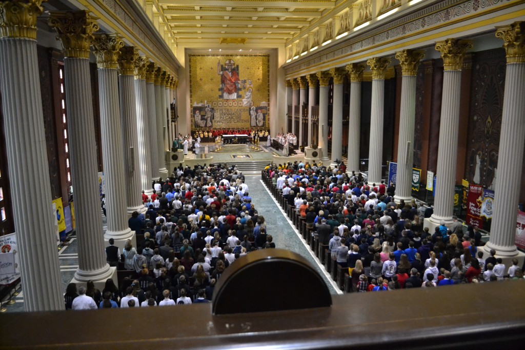 The Cathedral of St. Peter in Chains is shown full of worshippers during the 2012 Catholic Schools Week Mass. Pastor Barry Windholtz would like to see the pews full every Sunday. (CT Photo/John Stegeman)