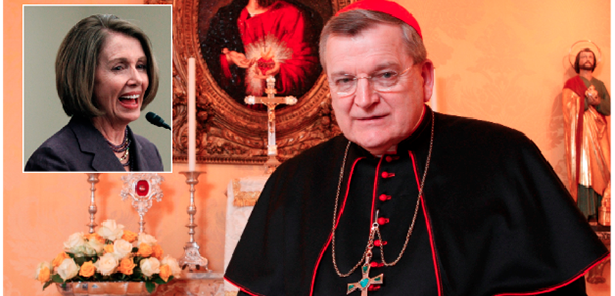 Cardinal Raymond Leo Burke said in a July interview with The Wanderer that House Minority Leader Nancy Pelosi should be denied communion. (CNS Photos)