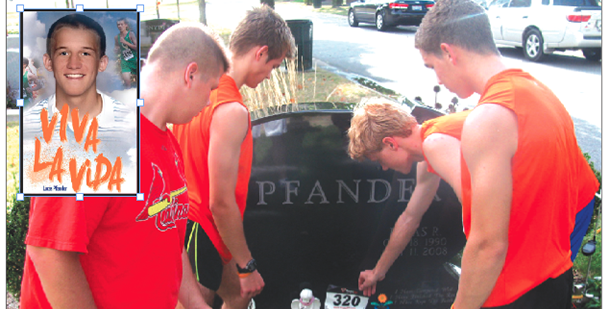 Chamiande Julienne seniors Joe Hoeft, John Carper, Conor Hickey and Ben Reis place a racing bib at Lucas Pfander's grave at Calvary Cemetery. The photo inset is of Pfander. (Courtesy Photos)