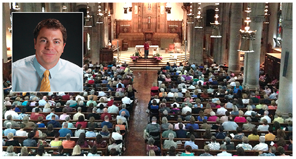 Matthew Kelly brought a packed house to St. Mary Church in Hyde Park Sept. 21. (Courtesy Photos/Dynamic Catholic Institute & St. Mary Hyde Park)
