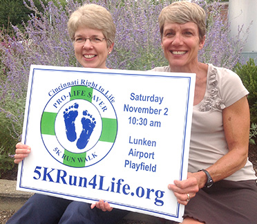 Paula Westwood (Left) Executive Director Greater Cincinnati Right to Life with Marjie Cassani of Immaculate Heart of Mary Parish share the goal of raising awareness and involvement in the Race for Life.  (Courtesy Photo)