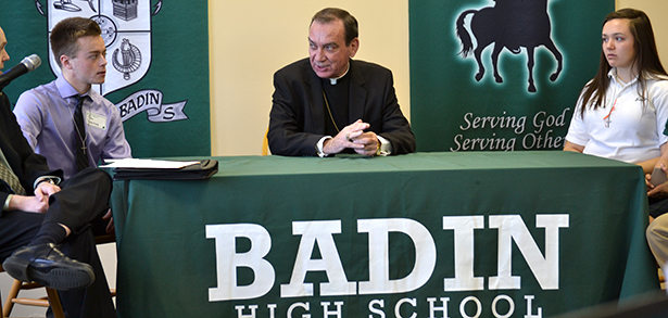 Archbishop Dennis M. Schnurr speaks with Badin High School students prior to his traditional Catholic Schools Week broadcast with area high school students. This year, 15 of the archdiocese's 23 Catholic high school participated in the broadcast. (CT Photo/John Stegeman)