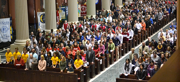 Students packed the Cathedral of St. Peter in Chains for the 2013 Catholic Schools Week Mass. (CT Photo/John Stegeman)
