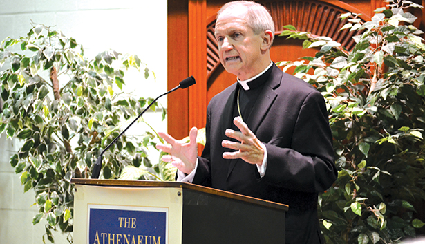 Bishop Thomas J. Paprocki of Springfield, Ill. spoke at the Athenaeum of Ohio Feb. 12 as part of the Le Blond lecture series. (CT Photo/John Stegeman)