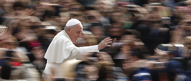 Pope Francis greets the crowd as he arrives to lead his general audience in St. Peter's Square at the Vatican Feb. 19. (CNS photo/Paul Haring) (Feb. 19, 2014) See POPE-AUDIENCE Feb. 19, 2014.