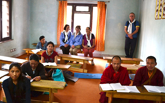 Members of the Archdiocese of Cincinnati group sit in on a free language class at the NGO Himalayan Roots to Fruits in Kathmandu, Nepal. (CT Photo/Megan Walsh)