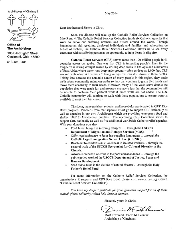 Letter from Archbishop Dennis M. Schnurr (May)