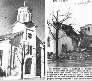 A scanned image from The Catholic Telegraph's archive shows the church before, and after the 1974 tornado.