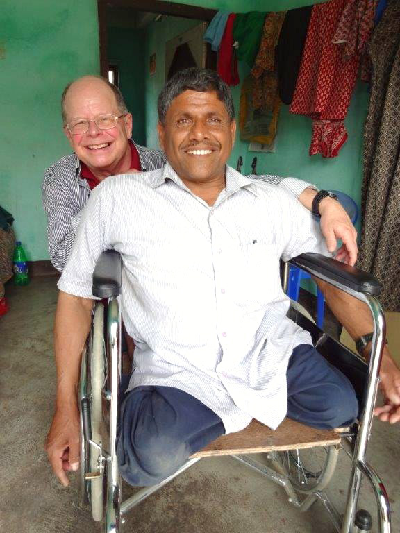 Maryknoll Missioner Father Joe Thaler enjoys visiting his friend, Govinda, at the Maryknoll Sewing Training Program outside of Kathmandy, Nepal (Courtesy photo)