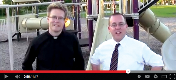 Chris Geiger, right, and Deacon Ethan Moore star in the introductory video for the Men of the Mount Youtube channel. (Screenshot)