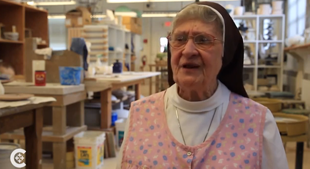 Sister Jane Mary Sorosiak speaks during a video on her work by the Catholic News Service. (Screen Shot)