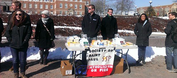 Members of the UC Society of St. Paul evangelize on campus earlier this year. (Courtesy Photo)