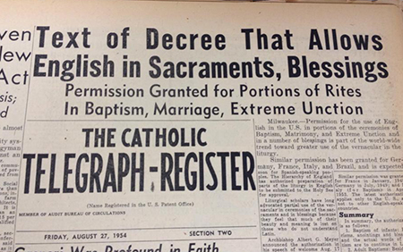 The above photo shows part of the front page of the Aug. 27, 1954 edition of The Catholic Telegraph-Register.