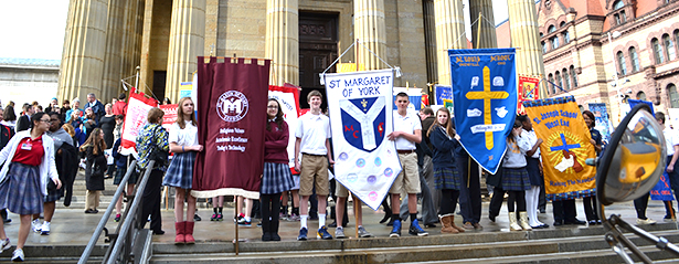 Students pose outside the Cathedral of St. Peter in Chains after the 2013 Catholic Schools Week Mass. (CT Photo/John Stegeman)