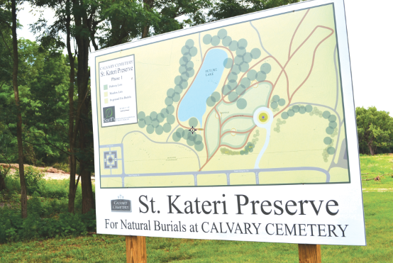 A photo shows the plan for the St. Kateri Preserve at Calvary Cemetery. (CT Photo/Steve Trosley)
