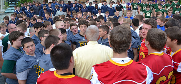 Local Catholic high school football teams gathered at the Athenaeum for a pre-season Rosary Rally. Now team records for Catholic schools in the Archdiocese of Cincinnati have now been gathered in one place as well. (CT Photo/John Stegeman)