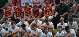 Fenwick and McNicholas high school football players participate in a pre-season Rosary Rally. (CT Photo/John Stegeman)