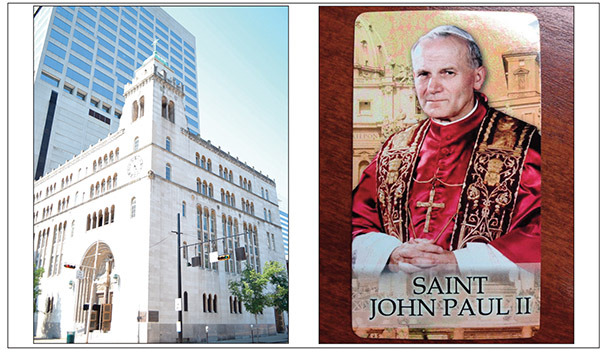 Mass goers from St. Louis Catholic Church in downtown Cincinnati (left) will be passing out Pope St. John Paul II prayer cards after the 12:10 p.m. Mass Wednesday Oct. 22. Oct. 22, 2014 is the first feast day of St. John Paul II. (CT Photo/John Stegeman)