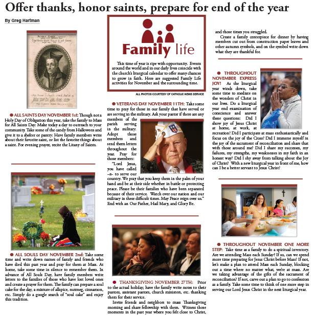 November Family Life page
