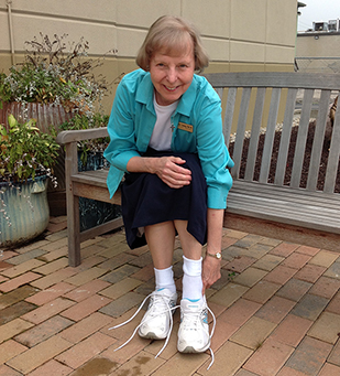 Sister Carole Temming laces up for the Pro Life Saver 5k race. (Courtesy Photo)