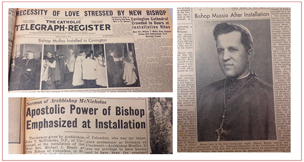 Coverage of the installations of bishops from around the region in 1945 are shown. In 1945, three of the Archdiocese of Cincinnati's suffragan sees and one neighboring diocese had new bishops installed. (CT File Photos)