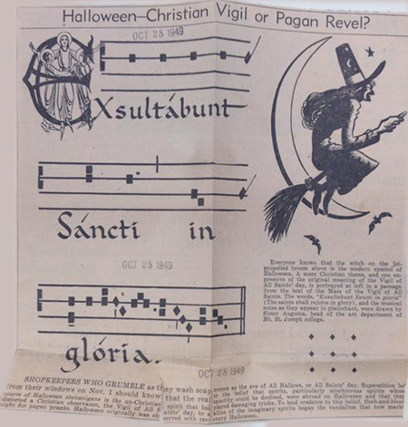 A clipping from the Oct. 28, 1949 edition of The Catholic Telegraph-Register contrasts Christian and pagan imagery associated with Halloween. (CT File)