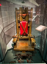 The electric chair that executed 125 men between 1916 and 1960 in Tennessee is seen on display at the National Museum of Crime and Punishment in Washington March 5. (CNS photo/Jim Lo Scalzo, EPA) See POPE-PUNISHMENT Oct. 23, 2014.