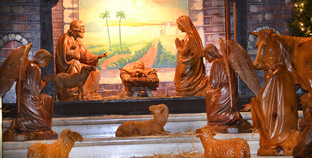 A creche is seen on display in the Cathedral of St. Peter in Chains in downtown Cincinnati last year. (CT Photo/John Stegeman)