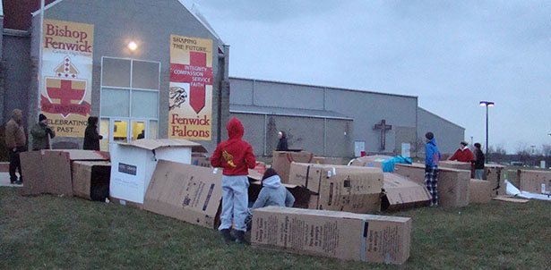 Students from Fenwick High School participated in a Shantytown to raise awareness for homelessness. (Courtesy Photo)