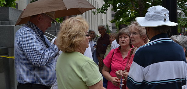 Supporters of traditional marriage pray the rosary outside the Potter Stewart Courthouse in downtown Cincinnati on Aug. 6. The women pictured were part of a prayer gathering that took place as judges inside began a review of several marriage-related cases. (CT Photo/John Stegeman)