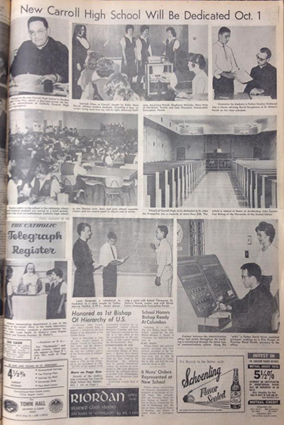 This page from the Sept. 29, 1961 edition of The Catholic Telegraph-Register includes coverage of the then-new Carroll High School in Dayton, Ohio. (CT File)